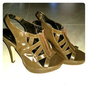 Forever 21 Front Zipper Heels - Taupe - F21
